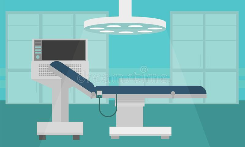Hospital Room Interior Intensive Therapy Flat Vector Illustration vector illustration