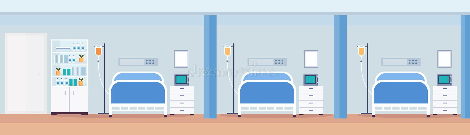 Hospital room interior intensive therapy patient ward with medical tools row of nursing care bed empty no people modern. Clinic furniture horizontal vector royalty free illustration