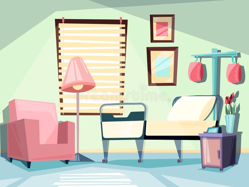 Hospital room. Medical empty interior with couch chair ambulatory bed vector illustrations vector illustration