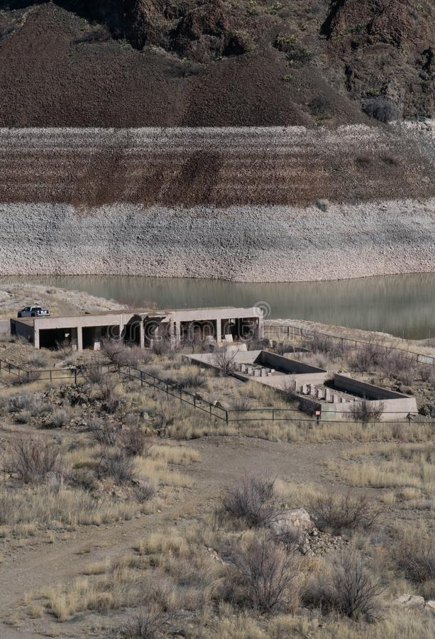 Hospital ruins, Elephant Butte Lake state park ,New Mexico. Abandoned and usually under water, these hospital ruins reappear when the water level drops at stock images