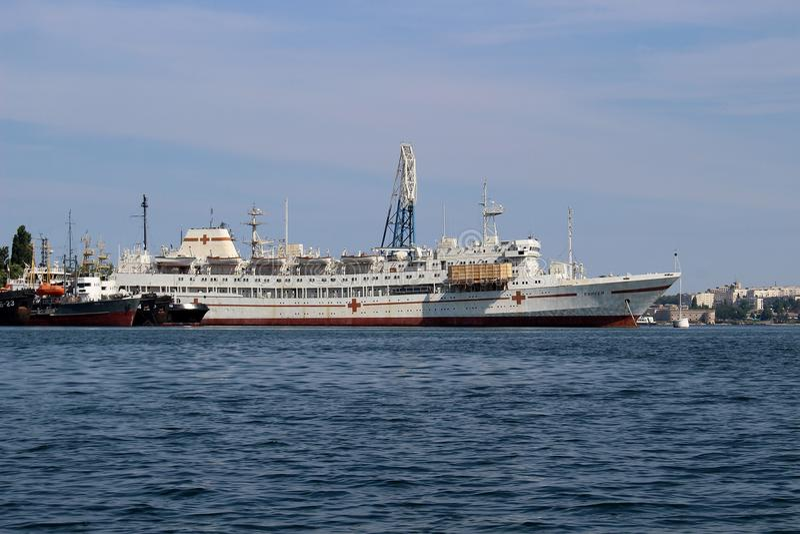 Hospital ship «Yenisei» at the pier in Sevastopol Bay royalty free stock photography