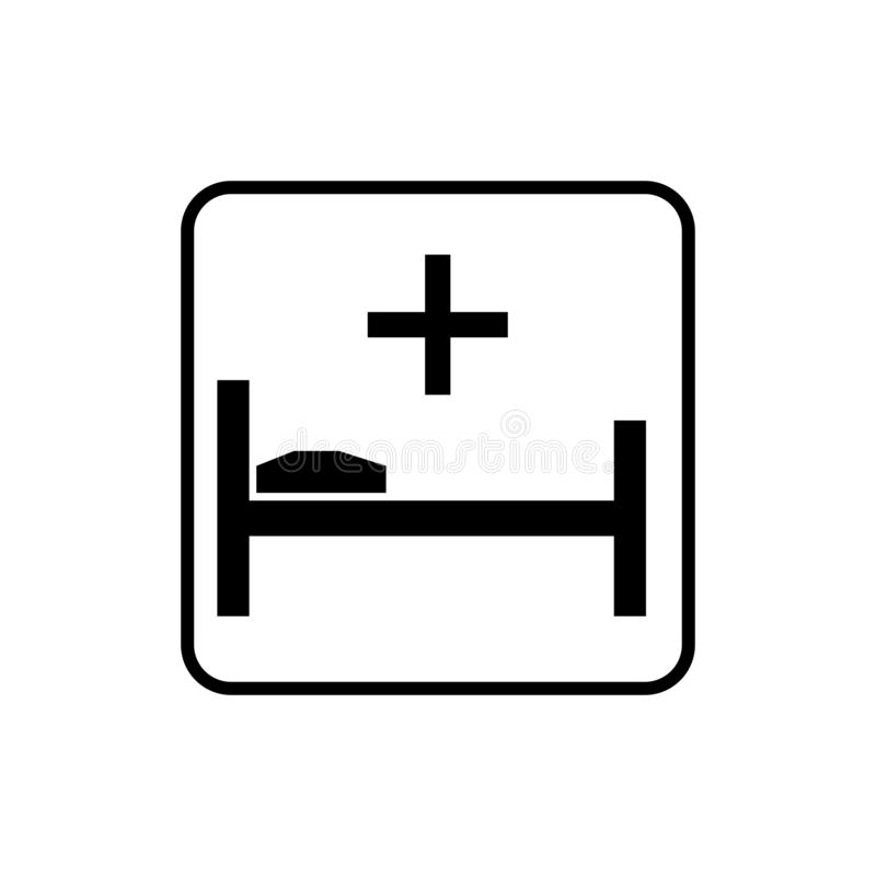 Hospital sign. Bunk pillow and cross sign. Eps ten vector illustration