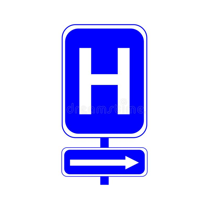 Hospital sign. Letter H on a blue background. And the arrow to the right. Eps stock illustration