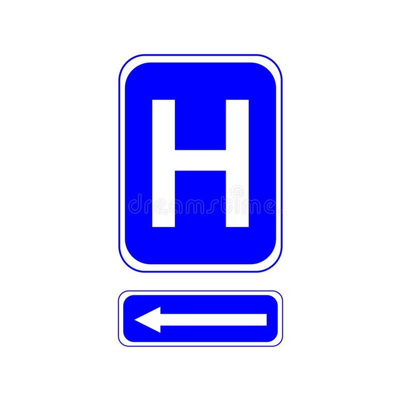 Hospital sign. Letter H on a blue background. And the left arrow. Eps ten stock illustration
