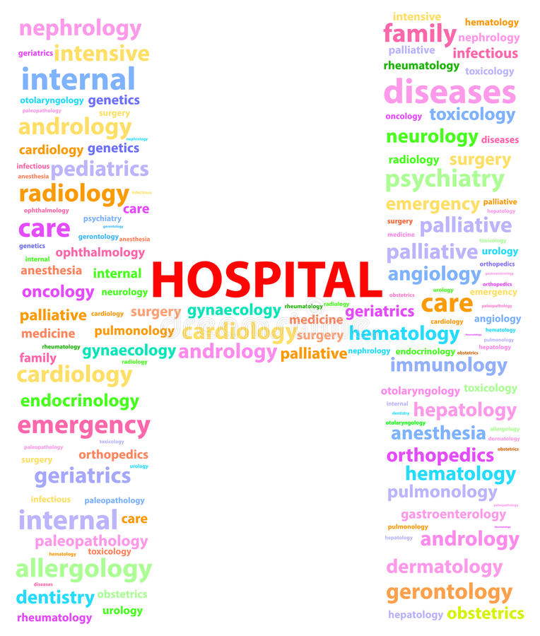 Hospital Sign With Medical Specialties royalty free stock photos