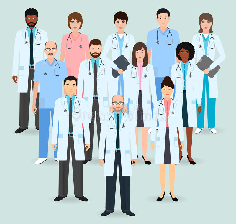 Hospital staff. Group of twelve men and women doctors and nurses. Medical people. Flat style vector illustration. Hospital staff. Group of twelve men and women royalty free illustration