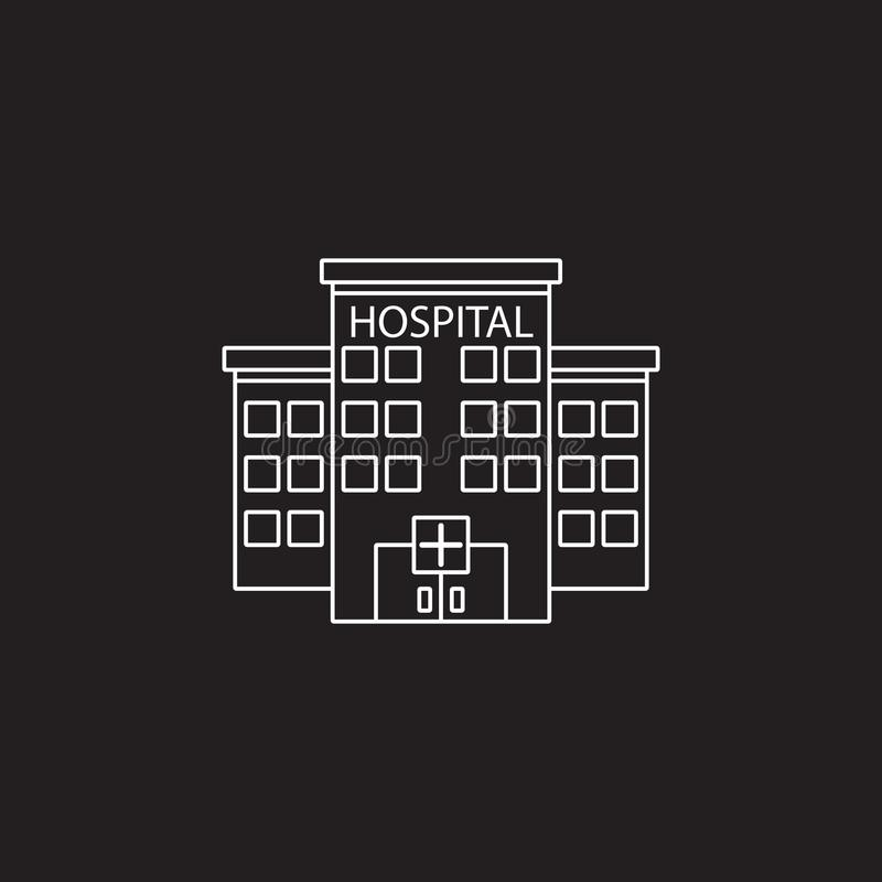 Hospital symbol. clinic building line icon, outline vector logo stock illustration