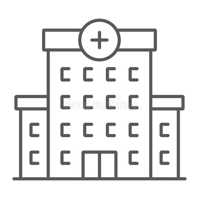 Hospital thin line icon, architecture and building vector illustration