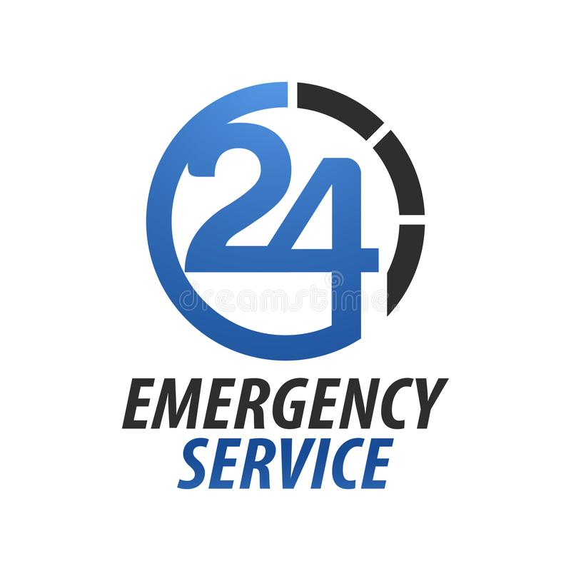 Hospital twenty-four do serviço de urgências Número do círculo 24 moldes do projeto de conceito do logotipo da hora ilustração royalty free