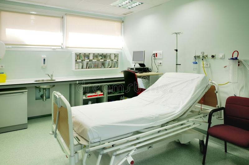 Hospital urgencies equipped room. Health center indoor. Emergency services stock photo