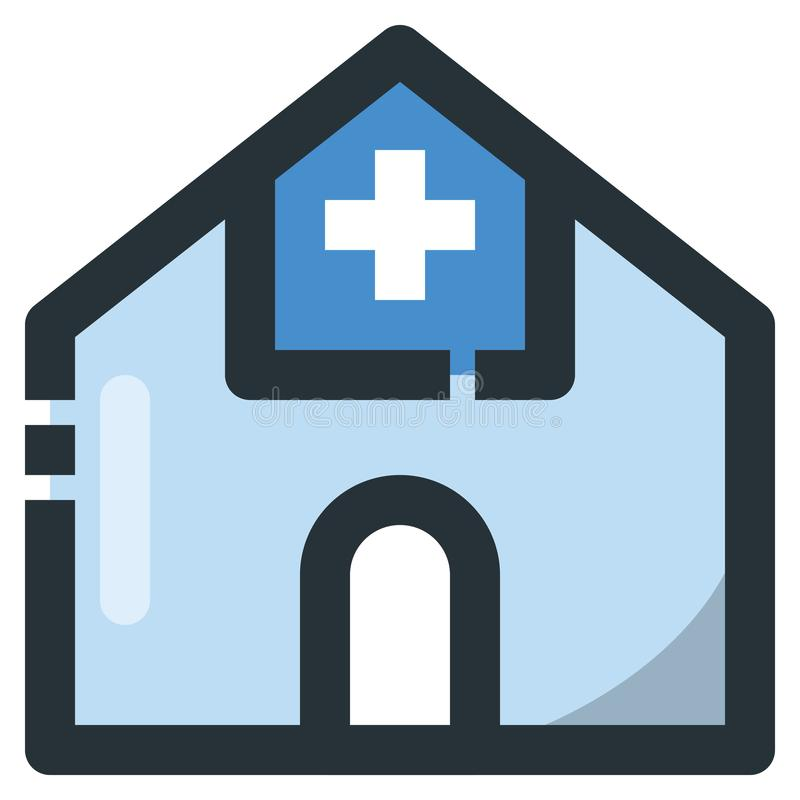 Hospital Vector Filled Line Icon 32x32 Pixel Perfect. Editable 2. Pixel Stroke Weight. Colorful Medical Health Icon for Website Mobile App Presentation royalty free illustration