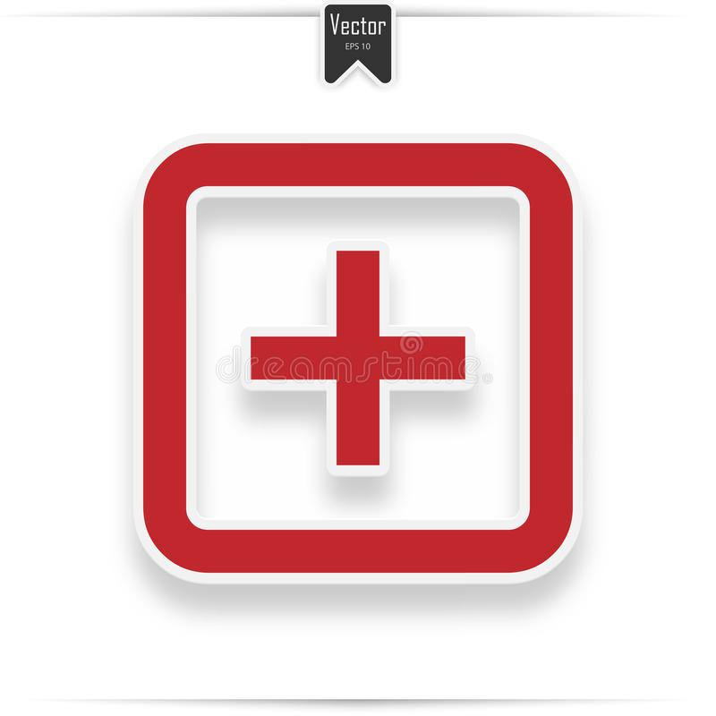 Hospital vector icon. Style is flat symbol, red color, rounded angles, white background. Icon with realistic shadow royalty free illustration