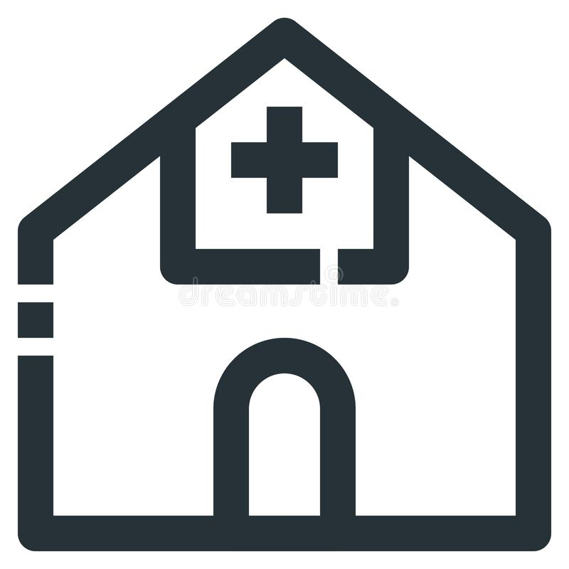 Hospital Vector Line Icon 32x32 Pixel Perfect. Editable 2 Pixel. Stroke Weight. Medical Health Icon for Website Mobile App Presentation stock illustration