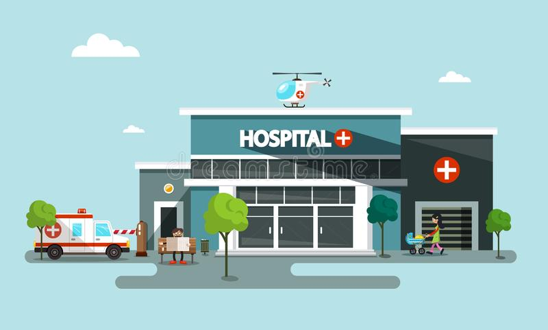 Hospital Vector Symbol with Helicopter, Ambulance Car. And People royalty free illustration