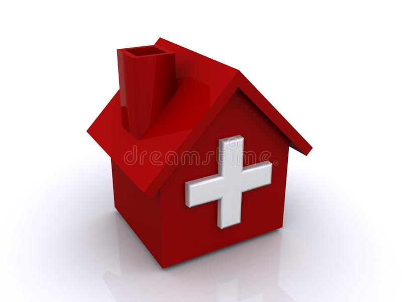 Hospital vermelho com cruz ilustração do vetor
