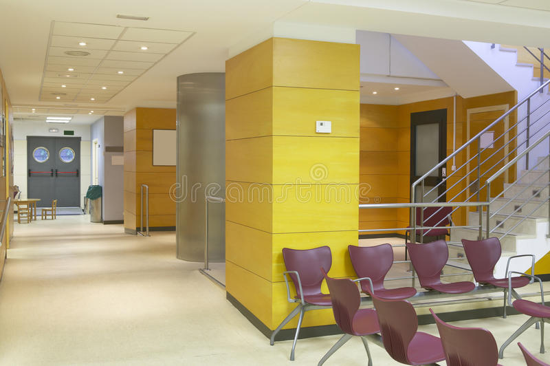 Hospital. Waiting area with seats. stock photos