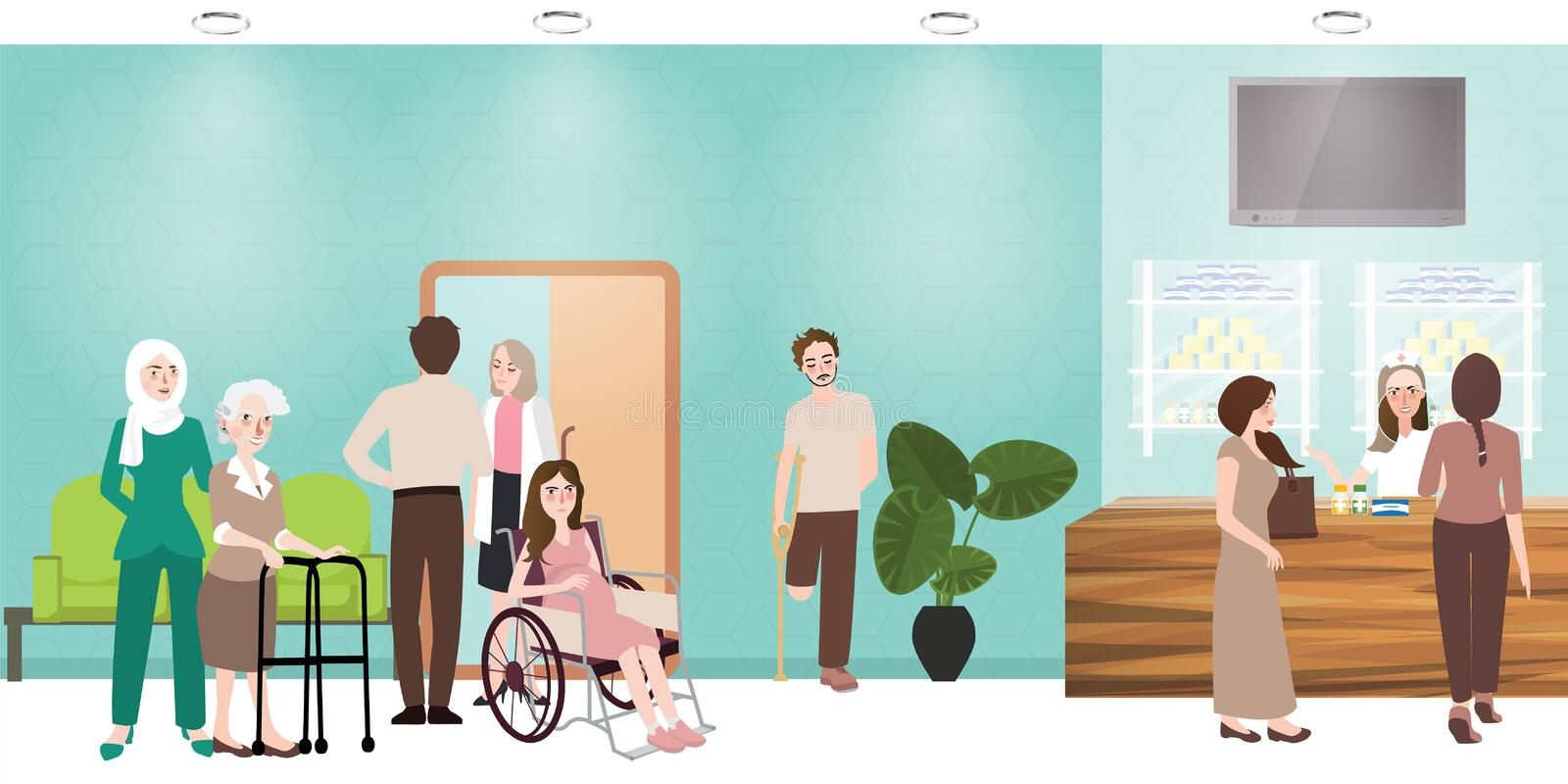 Hospital waiting room clinic lobby reception and pharmacy illustration. Of people nurse waiting working situation activities vector stock illustration