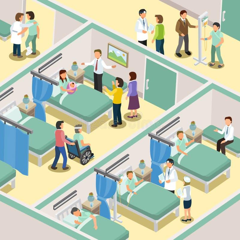 Hospital ward interior stock illustration