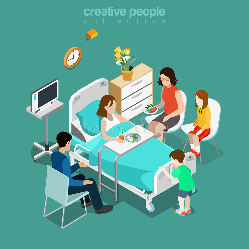 Hospital ward patient bed family care flat isometric vector 3d vector illustration