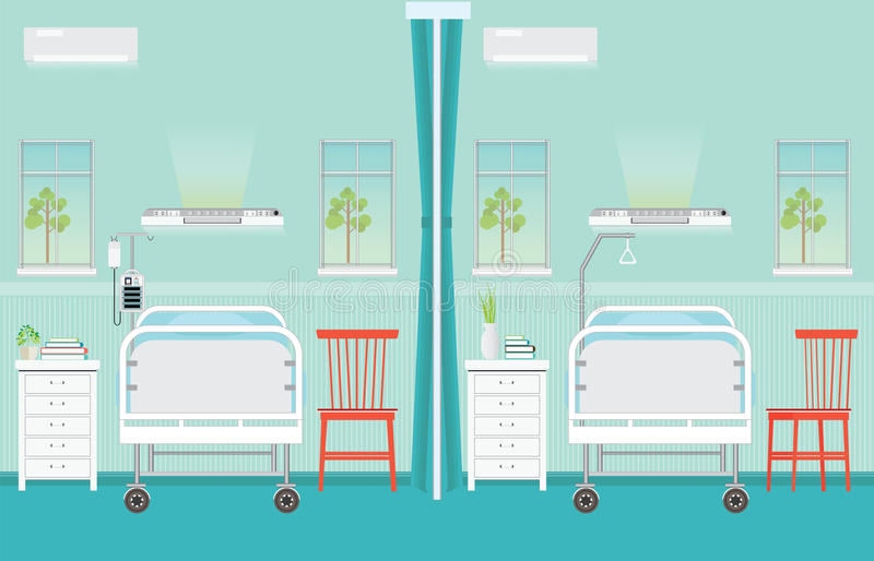 Hospital ward room interior with beds. vector illustration