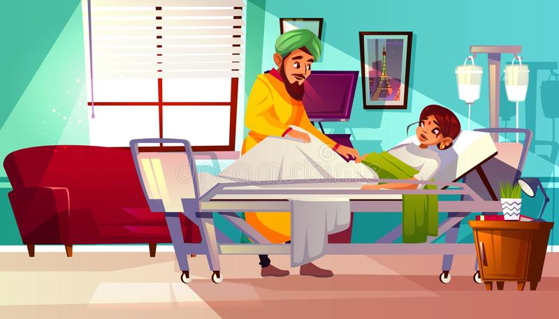 Hospital ward Indian patient vector illustration. Hospital ward vector illustration of Indian woman patient lying on medical couch and visitor man. Cartoon stock illustration