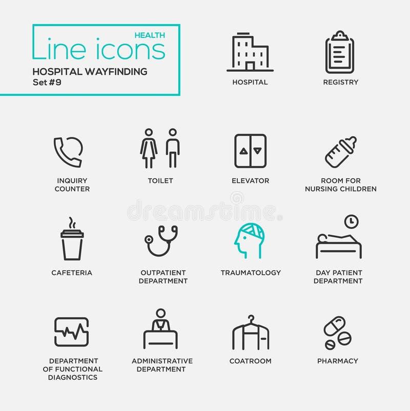Hospital wayfindings - line design pictograms set. Hospital wayfindings - modern vector plain simple thin line design icons and pictograms set. Registry stock illustration