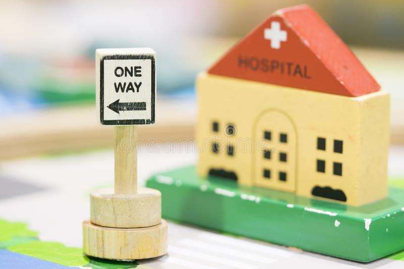 Hospital Wooden Toy Set and One way Signs Play set Educational t. Oys for preschool indoor playground selective focus royalty free stock photos