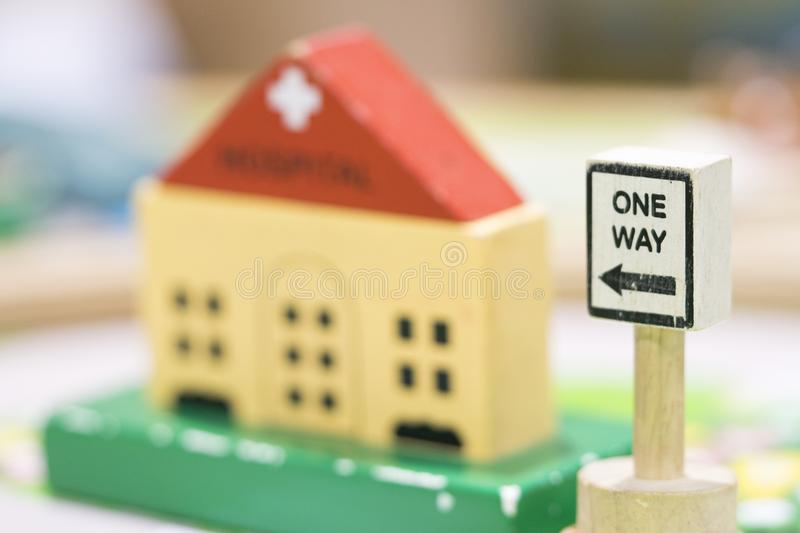 Hospital Wooden Toy Set and One way Signs Play set Educational t. Oys for preschool indoor playground selective focus stock image