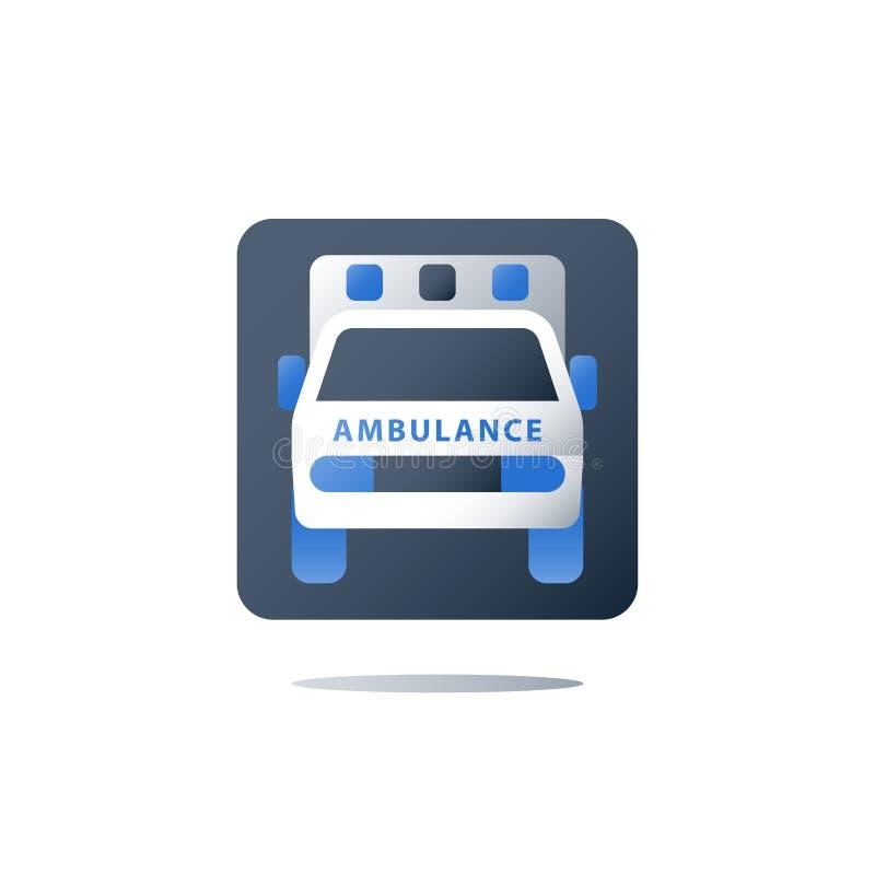 Hospitalisation rapide, véhicule d'ambulance, voiture de secours, soins de santé et concept médical illustration stock