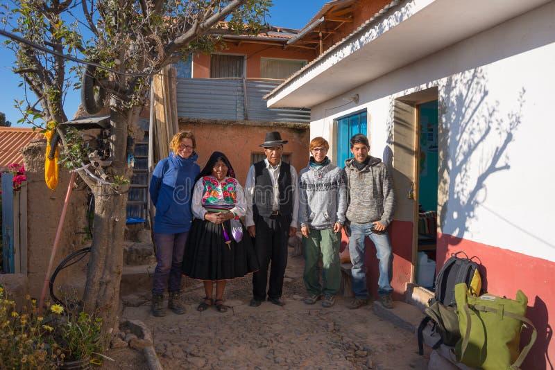 Hospitality on Amantani' Island, Titicaca Lake, Peru royalty free stock photography