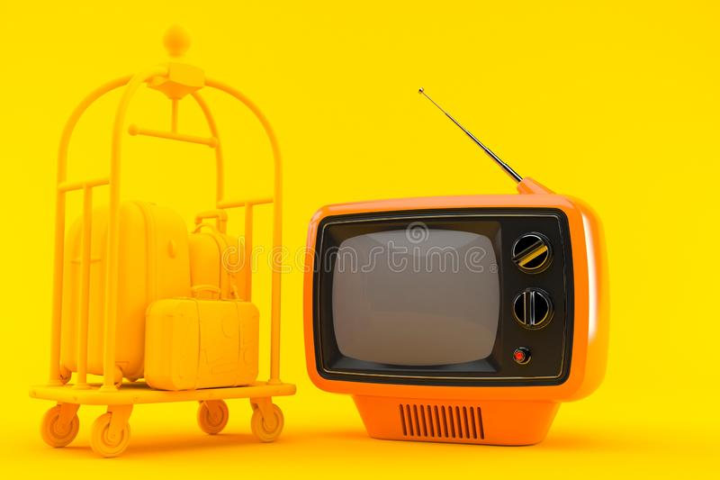 Hospitality background with tv. In orange color. 3d illustration royalty free illustration