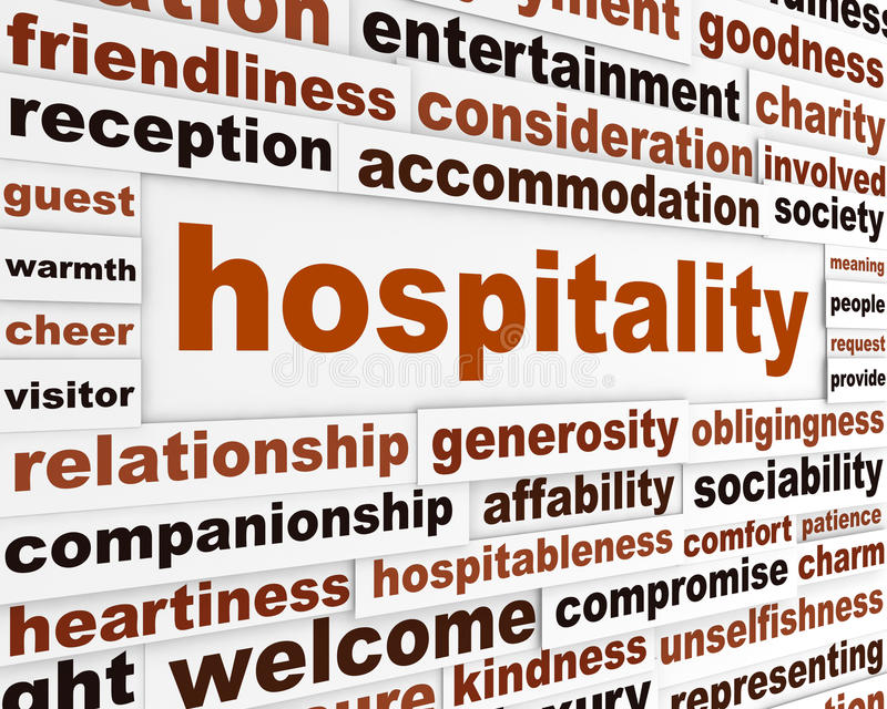Hospitality creative words conceptual poster. Generosity conceptual message background vector illustration