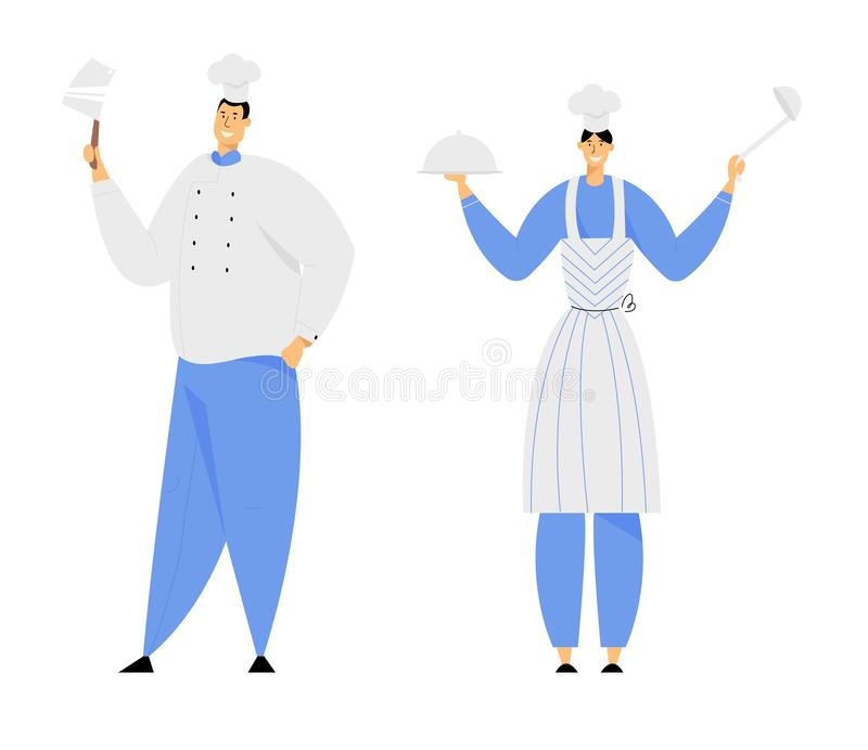 Hospitality, Restaurant Staff Characters in Uniform. Smiling Woman in Apron Holding Tray with Dish Under Silver Cloche. Lid and Ladle, Man in Chef Toque with royalty free illustration