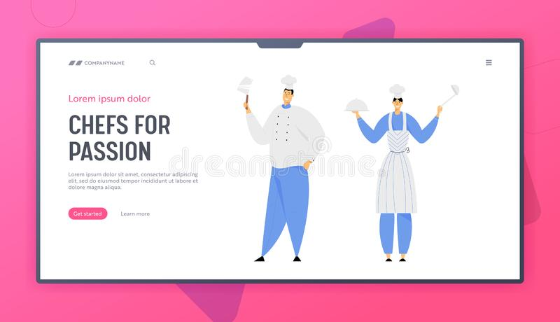 Hospitality, Restaurant Staff Website Landing Page, Characters in Uniform. Woman in Apron Holding Dish and Ladle. Man in Chef Toque with Beef Knife Web Page royalty free illustration