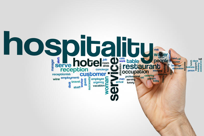 Hospitality word cloud. Concept on grey background royalty free illustration