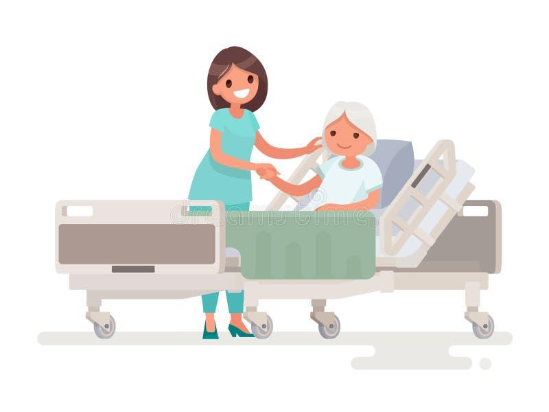 Hospitalização do paciente Uma enfermeira que toma de um EL doente ilustração royalty free