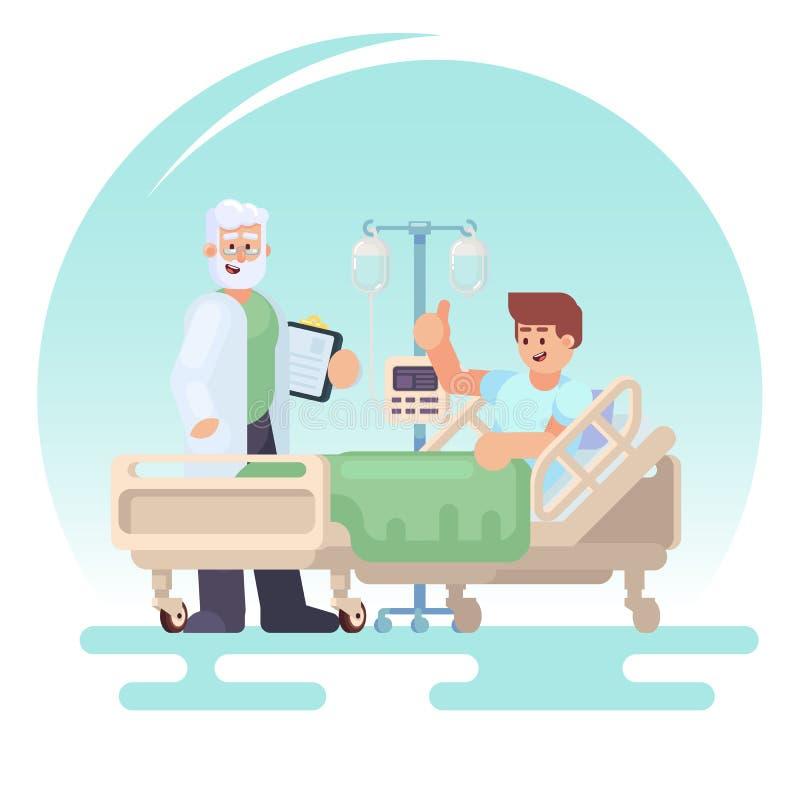 Hospitalizacja pacjent Doktorska wizyta oddział pacjent w medycznym łóżku na kapinosie Wektorowa kolorowa ilustracja w fl royalty ilustracja