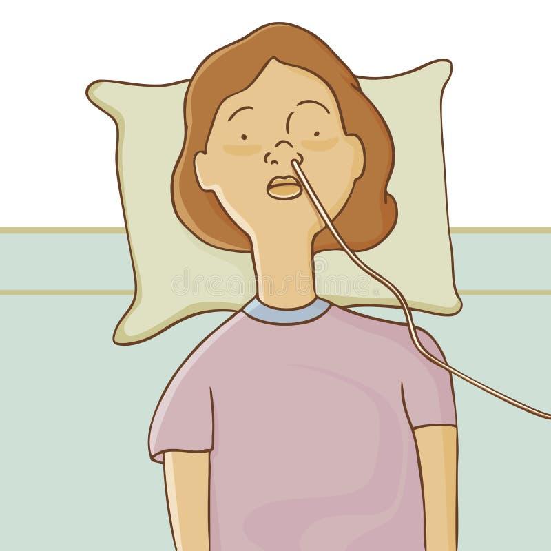 Hospitalizado con el tubo que introduce libre illustration