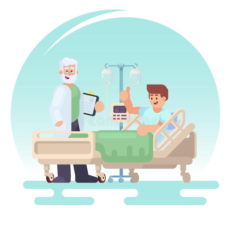 Hospitalization of the patient. Doctor visit to the ward of patient in a medical bed on a drip. Vector colorful illustration in fl royalty free illustration