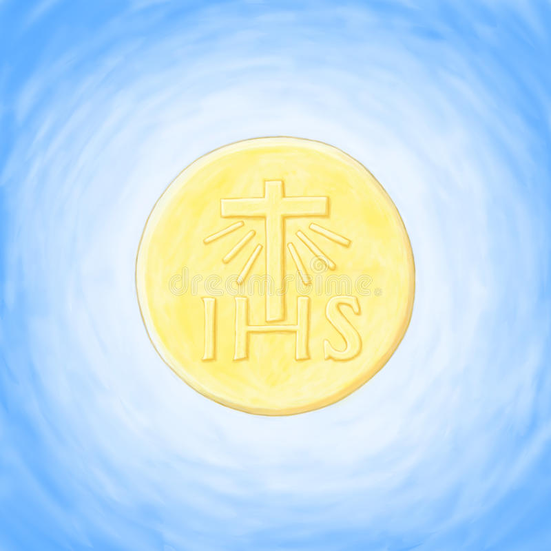 Host eucharist. Illustration with Eucharistic host Christian religious symbol vector illustration