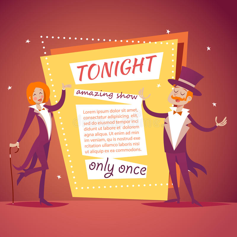 Host Lady Girl Boy Man in Suit with Cane and. Host Lady Girl Boy Man Suit with Cane and Cylinder Hat Ads Circus Show Icon on Stylish Background Retro Cartoon royalty free illustration