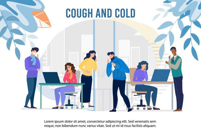 Hosta och kalla epidemi i Office Warning Banner vektor illustrationer