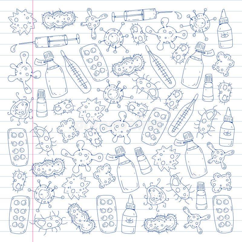 Hosta piller, influensa, influensa, sjukdom Vektormodell med klottersymboler medicin för hygien för omsorgsögonsjukvård vektor illustrationer