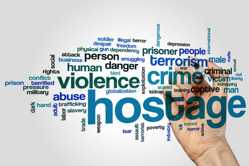 Hostage word cloud. Concept on grey background royalty free stock photo