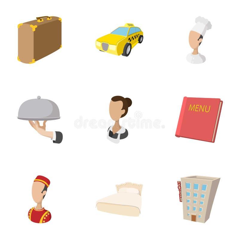 Hostel accommodation icons set, cartoon style royalty free illustration