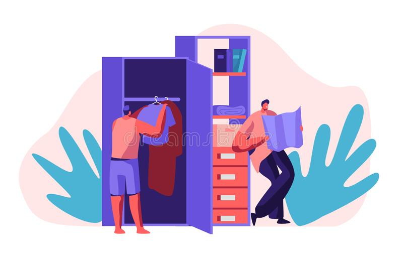 Hostel Apartment Interior with People Character Put Clothes in Wardrobe and Looking Map. Joint Budget Accommodation stock illustration