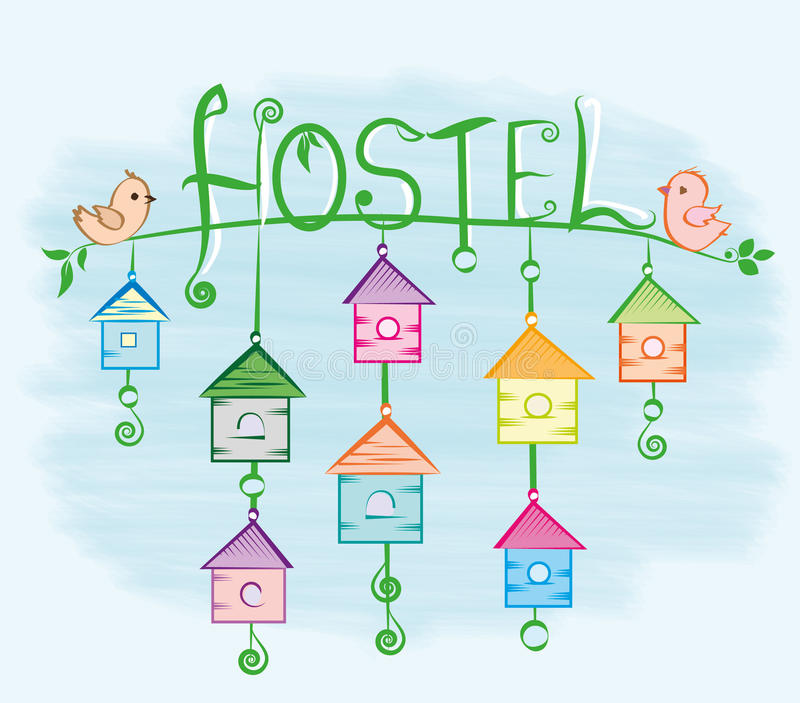 Hostel. Birdhouse,bird house, bird house, many houses, birds houses, hotel in many places, lots of places to stay, place to stay, the dorm, home for the night stock illustration