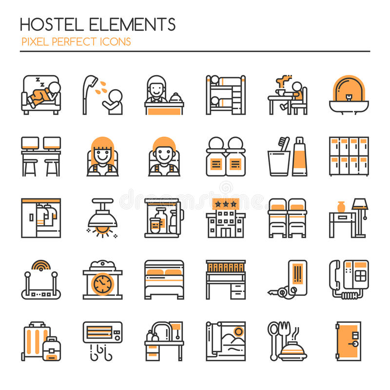 Hostel Elements stock illustration