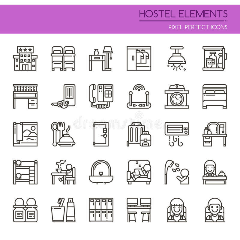 Hostel Elements. Thin Line and Pixel Perfect Icons stock illustration