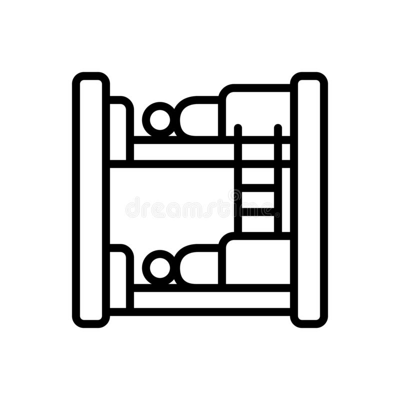 Black line icon for Hostel, dormitory and dorm. Black line icon for Hostel, bedroom, dormer, hotel, sleep,  dormitory and dorm stock illustration